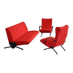 """Osvaldo Borsani 'D70' Sofa and 'P40' Chairs - Osvaldo Borsani's 1950s chairs look like they are about to start doing a do-si-do. The red fabric gives them a big personality, which I think is really appealing. By the way, Borsani is a major player in vintage furniture that you should put on the """"to know about"""" list."""
