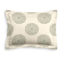 Aqua Sunburst Block Print Custom Sham - The Simple Sham may be basic, but it won't be boring!  Layer these luxurious reversible shams in various styles for a bed you'll want to fall right into. We love it in this blockprint sunburst medallion in soft aqua on lightweight cream cotton.  A touch of India for the free spirited nomad in you.