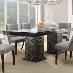 Homelegance - Homelegance Chicago Double Pedestal Dining Table in Deep Espresso - Design elements from traditional to mid-century modern are delicately balanced in the sophisticated Chicago Collection. This deep espresso finished dining group takes the uniquely routed accent of the apron and double pedestal table base and applies it to the accompanying server. The shape of the chairs conforms to your body  providing comfort and maximum style. From the grand sweep of the arms to the traditional nail-head accent  this chair is the ultimate in sophistication. The server features tassel drop pull hardware in a nickel finish and features door storage.