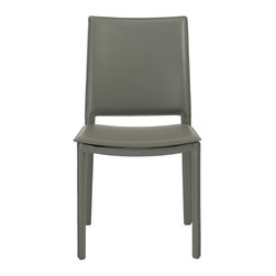 Euro Style - Kate Side Chair (Set Of 4) - Gray Leatherette - Completely skinned with leatherette, the Kate chair makes a statement. And the well-designed space where the back meets the seat gives this chair a timeless shape. It will look this good for generations.
