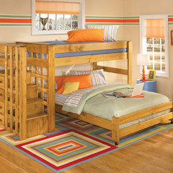 Twin Over Full Loft Bunk Bed with Stair Step - The Twin Over Full Loft Bunk Bed with Stair Step. The included ladder allows for easy access to the top bunk. The staircase features 4 storage drawers. Full length guard rails provide safety. Crafted of solid woods and veneers in natural finish.