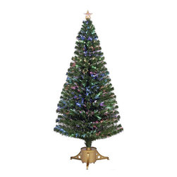 None - Multi-color LED Fiber Optic Tree Top Star Gold Base Tree - Make your holidays beautiful with this stunning Multi-color LED Fiber Optic Tree Top Star artificial tree. This tree features 265 tips, a 72-inch height, and a bright gold base, making it the perfect accent to your holiday season.