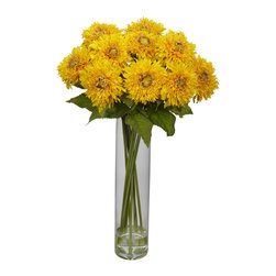 Nearly Natural - Nearly Natural Sunflower w/Cylinder Silk Flower Arrangement in Yellow - Sunflowers always seem to bring out the best in people. Perhaps It's the name, or the bright colors. But whatever the reason, this colorful arrangement will lighten up any room, and add a cheerfulness that was previously missing. A true classic for any decor, these are perfect for the kitchen counter, the dining room, the sunroom, an office reception area… heck, they'd even brighten up a teenagers room!