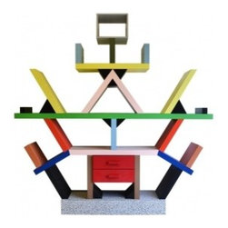 EcoFirstArt - Bookcase in the manner of E. Sottsass - Instead of visiting once upon a time, take story hour back to the future with this wild ride of a bookcase. It's angled and topsy and brightly colored, based on the original iconic 1980s design by Memphis, a Milan-based furniture and product collective.