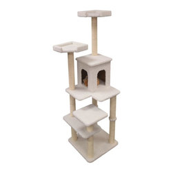 "Majestic Pet Products - 66"" Bungalow - Sherpa - Majestic Pet Products 66"" Casita Cat Tree is covered in elegant honey colored Faux Fur with Sisal Rope wrapped posts, that will withstand the toughest claws. This beautiful playground features a residence surrounded by multiple levels, and three perches for your cat to relax or play on. Our"" Casita Cat Tree assembles in minutes with simple step by step instructions and tools provided."