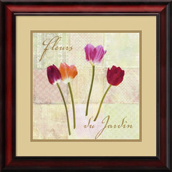 Amanti Art - Fleurs du Jardin (Garden Flowers) Framed Print by Remy Dellal - Add some springtime wonder to your walls with these colorful garden tulips by artist Remy Dellal.