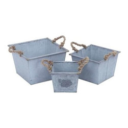 "Benzara - Planter Designed with Rope Handles - Set of 3 - Planter Designed with Rope Handles - Set of 3. This metal planter Set of three in a broad shape gives your garden a charm and grace unknown before. It comes with a following dimension 13""W x 13""D x 9""H. 11""W x 11""D x 8""H. 9""W x 9""D x 7""H."