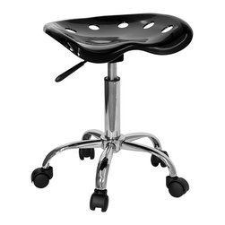 """Flash Furniture - Tractor Seat Stool w Chrome Base and Casters - Fun yet practical, this ingenious backless tractor seat stool easily goes wherever you need it the most.  Perfect for the shop or office, the heavy-duty chrome base features dual wheel casters so it rolls smoothly on carpet or bare floors.  The handy pneumatic gas lift raises the height a full five inches so it's great for people of all sizes.  Makes a great conversation piece, and is available in a wide array of stylish colors as well as the black shown. Vibrant Black and Chrome stool. Extremely unique and comfortable molded """"Tractor"""" seat. 5.5 in. Height range adjustment. Pneumatic gas lift. High density polymer construction on tractor seat. Chrome base. Dual wheel carpet casters. Seat: 17 in. W x 15 in. D. Seat Height: 20 1/4 in. - 25 3/4 in. H. Overall: 17 in. W x 15 in. D x 20 1/4 in. - 25 3/4 in. H (21 lbs.)"""