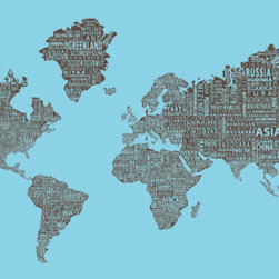 "1-World Text Map Wall Mural - Brown on Blue - Wallpaper - 3 panel - 107 x 57"" - A modern and bold new world map! The 1-World Text Map Wall Mural features the continents of the world filled with the text of the country, city and place names, making it a modern and unique decorative map for your home or office. Available in several different sizes in a standard wet strength wall paper."
