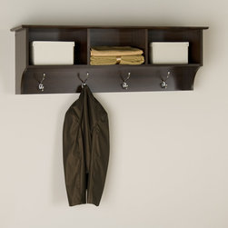 Prepac Cubbie Shelf in Espresso - The versatile Cubbie Shelf for Entryway in Espresso is simple in design, featuring 3 open shelf areas and 4 hooks perfect to hang your coats. Well-suited to a number of decors, a profiled top and solid antiqued bronze accents combine with a warm Espresso finish make it a welcoming contemporary statement to your room.
