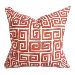 "The Pillow Collection - Klemens Geometric Pillow Red - Redecorate your home in time for the new season with this transitional decor pillow. This accent pillow features a bold geometric print in red and white. This toss pillow is stylish, sleek and versatile. It can be used anywhere inside your home be it in your living room, bedroom or guestroom. This 18"" pillow is made with 100% plush cotton material. Hidden zipper closure for easy cover removal.  Knife edge finish on all four sides.  Reversible pillow with the same fabric on the back side.  Spot cleaning suggested."