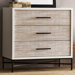 Wood Tiled 3-Drawer Dresser - I'd love to see these on either side of the bed doing double duty as nightstands and personal dressers. The tile wood detail on the front is hugely unique.