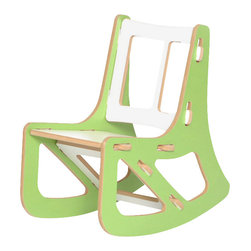 Quark Enterprises - Kids Rocking Chair, Green and White - This contemporary rocking chair looks like the perfect place for a kid to relax. It would be a stylish addition to your playroom, and it's a breeze to put together without any tools required.