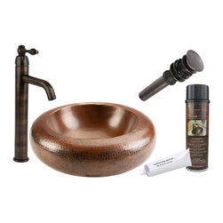"Premier Copper Products - Premier Copper Products BSP1_PVRDW18 18"" Blooming Vessel Copper Sink Package - Premier Copper Products BSP1_PVRDW18 18"" Blooming Vessel Copper Sink Package"