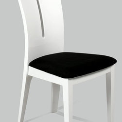 "Chintaly Imports - Lafayette Contour Back Lacquer Side Chair - Set of 2 - High back side chair in your choice of Black or White high gloss finish. Seat is upholstered in Black microfiber.; High back; Black Microfiber; High gloss white finish; Dimensions:18.9""W x 22.64""D x 39.37""H"