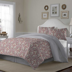 Laura Ashley - Laura Ashley Megan Paisley Terracotta 4-piece Comforter Set - A coral paisley pattern brightens a soft grey background on this Megan comforter set by Laura Ashley. Crafted with soft cotton,this conveniently machine washable bedding reverses to a striped pattern for added fashion.
