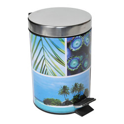Photoprint Metal Step Trash Can 3-Liter/0.8-Gal Riviera Paradise Blue - This photoprint step trash can Riviera Paradise for bathrooms is metal with sea and sand patterns. Its durable pedal is designed to last through heavy use. Capacity 03-Liter/0.8-Gal. Diameter of 6.69-Inch and height of 9.84-Inch. Wipe clean. Removable plastic inner basket makes trash disposal a breeze. Color blue. Bring modern style and convenience to your home with this stylish trash can. This waste bin features a modern design style that's perfect for the bathroom. Complete your Paradise decoration with other products of the same collection. Imported.