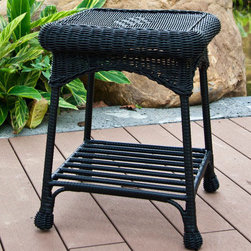 """Jeco - Outdoor Black Wicker Patio End Table - """"The Outdoor Wicker End Table is a nice complementary piece for your patio set, and it's also a nice accent piece indoors. This end table looks great with our outdoor wicker chairs and loveseats. Although it displays the classic beauty of natural wicker, the table is actually hand woven, all-weather resin wicker with a sturdy steel frame. You can leave this piece out year round and it won't deteriorate. A wonderful addition to any patio grouping."""