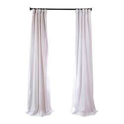 "Exclusive Fabrics & Furnishings, LLC - White Faux Silk Taffeta Curtain - 56% Nylon & 44% Polyester. 3"" Pole Pocket with Hook Belt. Lined. Interlined. Imported. Weighted Hem. Dry Clean Only. SOLD PER PANEL."