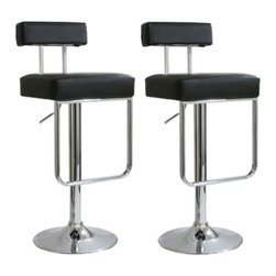 New Buffalo Corp. - Amerihome 2-Piece Contemporary Padded Bar Stool Set - Black - The Amerihome 2-Piece Padded Bar Stool Set with Hanging Footrest brings a touch of the casual contemporary to complete any room. The textured vinyl seat is ideal for kitchen spaces as well as bars, game rooms, and basements. The sleek polished chrome base with hanging foot rest is unobtrusive and allows for comfortable leg room. The padded seat is designed for comfort with a 17 inch wide by 16 inch deep seat that swivels 360 degrees and has an Adjustable height of 25 to 33.5inches. All these features create an great bar stool for all ages.