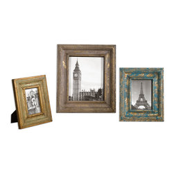 Uttermost - Suvarna Gold Photo Frames Set of 3 - Gold leaf photo frames with blue, gray and light green glazes. Sizes: sm-9x11, med-10x12, lg-13x15. Holds photo sizes 4x6, 5x7 and 8x10.