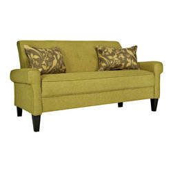 Angelo:Home Ennis Green Bamboo Twill Sofa - Check out the square arms on this twill sofa. They're absolutely perfect! Its design is unique yet modern, which is one of my favorite combos.