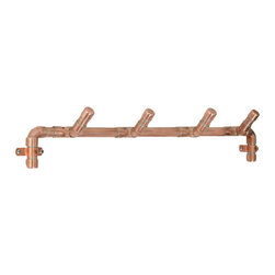 Nine & Twenty - Industrial Copper Towel Rack - A handy collection of 4 hooks, mounted flush to the wall with two sturdy straps.  Perfect for hanging towels, coats, or a collection of fabulous scarves.