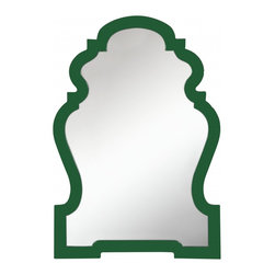 """Cooper Classics - Silverson Arch Frameless Mirror - Glossy Cilantro Finish Frame Dimensions: 26""""W X 38""""H X 1.5""""D; Mirror Dimensions: 22""""W X 33""""H; Finish: Glossy Cilantro; Material: Polyurethane; Beveled: No; Shape: Unique; Weight: 15; Included: Brackets, Ready to Hang"""