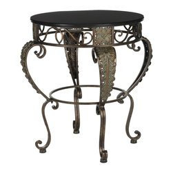 Safavieh - Karen Side Table - Classical styling reminiscent of ancient Greek craftsmanship make the Karen side table an elegant addition to both Mediterranean and traditional interiors. Natural materials, such as its dark brown fir wood and iron base, are softened by an ornately tooled leaf motif accenting its curved legs.