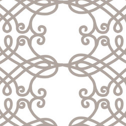 cathedral - Beautiful scroll design on cotton/linen fabric, base on a church window in Prague. Great for window treatments, pillows, light upholstery.