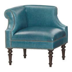 Caroline leather accent chair - The dark teal leather adds on-trend personality to the space while showing off elegant turned legs.