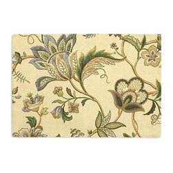 Tan Jacobean Floral Custom Placemat Set - Is your table looking sad and lonely? Give it a boost with a set of Simple Placemats. Customizable in hundreds of fabrics, you're sure to find the perfect set for daily dining or that fancy shindig. We love it in this sophisticated Jacobean floral in soft neutral beiges and grays. Perfect for the new traditionalist.