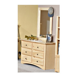 Chelsea Home - 50 in. Dresser with Large Mirror - Rustic style. Frame construction with rounded edges for strong and safe youth furniture. Baltic birch plywood filler panels for smooth feel and finish. Six drawers to store clothing and other bedroom items. Centre mounted metal kenlin drawer glide system with solid pine fronts. Mirror thickness: 1 in.. Warranty: One year. Made from solid ponderosa pine wood. Dark finish. Made in USA. No assembly required. Mirror: 27 in. W x 38.5 in. H (25 lbs.). Dresser: 50 in. W x 17.5 in. D x 30 in. H (90 lbs.). Overall: 50 in. W x 17.5 in. D x 68.5 in. H (115 lbs.)