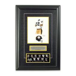 "Heritage Sports Art - Original art of the NFL 1979 Pittsburgh Steelers uniform - This beautifully framed piece features an original piece of watercolor artwork glass-framed in an attractive two inch wide black resin frame with a double mat. The outer dimensions of the framed piece are approximately 17"" wide x 24.5"" high, although the exact size will vary according to the size of the original piece of art. At the core of the framed piece is the actual piece of original artwork as painted by the artist on textured 100% rag, water-marked watercolor paper. In many cases the original artwork has handwritten notes in pencil from the artist. Simply put, this is beautiful, one-of-a-kind artwork. The outer mat is a rich textured black acid-free mat with a decorative inset white v-groove, while the inner mat is a complimentary colored acid-free mat reflecting one of the team's primary colors. The image of this framed piece shows the mat color that we use (Yellow). Beneath the artwork is a silver plate with black text describing the original artwork. The text for this piece will read: This original, one-of-a-kind watercolor painting of the 1979 Pittsburgh Steelers uniform is the original artwork that was used in the creation of this Pittsburgh Steelers uniform evolution print and tens of thousands of other Pittsburgh Steelers products that have been sold across North America. This original piece of art was painted by artist Tino Paolini for Maple Leaf Productions Ltd.  1979 was a Super Bowl winning season for the Pittsburgh Steelers. Beneath the silver plate is a 3"" x 9"" reproduction of a well known, best-selling print that celebrates the history of the team. The print beautifully illustrates the chronological evolution of the team's uniform and shows you how the original art was used in the creation of this print. If you look closely, you will see that the print features the actual artwork being offered for sale. The piece is framed with an extremely high quality framing glass. We have used this glass style for many years with excellent results. We package every piece very carefully in a double layer of bubble wrap and a rigid double-wall cardboard package to avoid breakage at any point during the shipping process, but if damage does occur, we will gladly repair, replace or refund. Please note that all of our products come with a 90 day 100% satisfaction guarantee. Each framed piece also comes with a two page letter signed by Scott Sillcox describing the history behind the art. If there was an extra-special story about your piece of art, that story will be included in the letter. When you receive your framed piece, you should find the letter lightly attached to the front of the framed piece. If you have any questions, at any time, about the actual artwork or about any of the artist's handwritten notes on the artwork, I would love to tell you about them. After placing your order, please click the ""Contact Seller"" button to message me and I will tell you everything I can about your original piece of art. The artists and I spent well over ten years of our lives creating these pieces of original artwork, and in many cases there are stories I can tell you about your actual piece of artwork that might add an extra element of interest in your one-of-a-kind purchase."