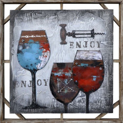 YOSEMITE HOME DECOR - Red Luscious II Art Painted on Canvas - FCH7149SF-2 is a modern representation of three glasses of wine and a corkscrew. It is a perfect painting for art lovers and for wine enthusiasts as well. The artist perfectly combined the colors with the textures, which are also completed by the materials he used for this painting � embossed glass and metal nuts. This painting has a simple background, colored in different hues of grey, which seems to start from a lighter grey in the middle of the artwork to darker grey at the margins. The corners are in the darkest shade of grey used in this painting. The painting is such nicely done that it almost looks real. The corkscrew is the most realistic item in it, as you could almost tell the artist put a real one on the painting. The colors of the glasses differ, so that one contains red, while other is colored with blue, but they also look nice and the idea of the artist is very fine represented in this painting. FCH7149SF-2 is set in a wooden frame, which complements the entire aspect of the painting. You can mount it on the wall of your preferred room, as it is a very nice and modern piece of artwork which would look good anywhere. The artist really knew how to best combine colors and textures in order to create a wonderful looking painting like this. FCH7149SF-2 would please any art lover and any wine lover as well, as its representation is nicely done and would please they viewer at any time.  This work of art is hand painted on a gallery wrapped canvas and signed by the artist ensuring each piece has some subtle differences making it distinctly unique to each owner.  The high quality canvas wraps tightly around a sturdy wooden frame that will last for years to come.  The painting comes with either a pre-strewn wire or hinges on the back so that it�s ready for immediate wall mounting.  The light weight of the piece allows for easy hanging without worry of damaging your wall.  The acrylic paint creates a rich texture that will really catch the light, creating a very sophisticated allure. Each painting is carefully packaged and inspected prior to shipping, ensuring every piece arrives safely and ready to hang on your wall, making for a pleasant purchasing experience from beginning to end.