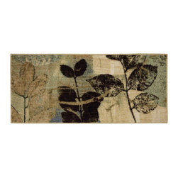 """Mohawk Home - Connexus Gale Beige Floral Leaves 20"""" x 3'9"""" Mohawk Rug (11168) - Perfect for more than just your kitchen, this nylon rug is easy to clean and has a latex backing to prevent skidding. Crafted completely in the USA, this rug is made from durable stain resistant nylon. Latex Backing"""