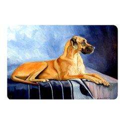 Caroline's Treasures - Natural Fawn Great Dane Kitchen Or Bath Mat 20X30 - Kitchen or Bath COMFORT FLOOR MAT This mat is 20 inch by 30 inch.  Comfort Mat / Carpet / Rug that is Made and Printed in the USA. A foam cushion is attached to the bottom of the mat for comfort when standing. The mat has been permenantly dyed for moderate traffic. Durable and fade resistant. The back of the mat is rubber backed to keep the mat from slipping on a smooth floor. Use pressure and water from garden hose or power washer to clean the mat.  Vacuuming only with the hard wood floor setting, as to not pull up the knap of the felt.   Avoid soap or cleaner that produces suds when cleaning.  It will be difficult to get the suds out of the mat.