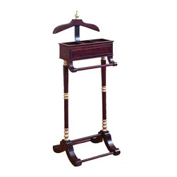 Aspire Home Accents - Wood and Metal Valet Rack - 47H in. Multicolor - 80482 - Shop for Closet from Hayneedle.com! The Wood and Metal Valet Rack- 47H in. makes getting ready for work in the morning a snap. With an ornate and traditional design this valet is as beautiful as it is functional. It features a rich cherry finish with gold detailing as well as a rack and coat hanger for laying out formal and business attire without wrinkling. Finely crafted from solid wood this piece is built to last.