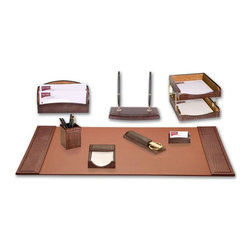Dacasso - Dacasso Pescara Crocodile 9-Piece Desk Set Multicolor - D2020 - Shop for Desk and Drawer Organizers from Hayneedle.com! Whether you are setting up your own business or moving up in the company the Dacasso Pescara 9-Piece Desk Set will grace your desktop in style. Gradient earth tones of warm color enhance the genuine top-grain leather on each piece. Metal components are attractive and sturdy. Designed by Italian craftsmen this set was created to impress. This set also features a library set which is an embossed leather holder that keeps a set of large desk scissors and a letter opener right at hand.