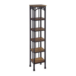 HomeStyles - Modern Craftsman Six Tier Tower - Reminiscent of the American Craftsman Era with understated style and simplicity, the Modern Craftsman Six Tier Tower is constructed of brown powder-coated metal accented with gold highlighting, and distressed oak veneer shelves.  This multifaceted storage shelf will meet all your storage needs, and will complement any bathroom. This tower is equipped with six 9.75 inches wide by 7.75 inches deep fixed shelves. Other features include levelers on the feet for added stability. Assembly required. 13 in. W x 11 in. D x 60.25 in. H