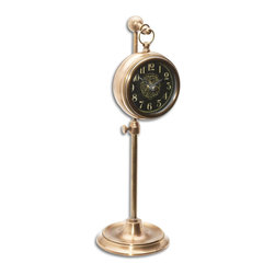 "Uttermost - Pocket Watch Brass Woodburn - Brass Pocket Watch Replica That Hangs On An Adjustable Telescopic Stand. Requires 1-aa Battery. Stand Adjusts From 8"" To 12 1/2"" In Height."