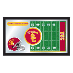 """Holland Bar Stool - Holland Bar Stool USC Trojans Football Mirror - USC Trojans Football Mirror belongs to College Collection by Holland Bar Stool The perfect way to show your school pride, our Football Mirror displays your school's symbols with a style that fits any setting.  With it's simple but elegant design, colors burst through the 1/8"""" thick glass and are highlighted by the mirrored accents.  Framed with a black, 1 1/4 wrapped wood frame with saw tooth hangers, this 15""""(H) x 26""""(W) mirror is ideal for your office, garage, or any room of the house.  Whether purchasing as a gift for a recent grad, sports superfan, or for yourself, you can take satisfaction knowing you're buying a mirror that is proudly Made in the USA by Holland Bar Stool Company, Holland, MI.   Mirror (1)"""