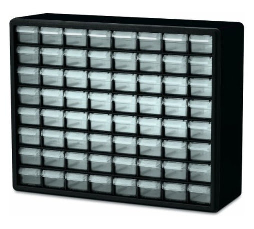 Akro-Mils - 64 Drawer Storage Cabinet - Cabinet stacks securely and can also be wall mounted with keyhole slots. Clarified polypropylene, dividable drawers offer easy content identification. Finger-grip drawer pulls provide easy access and rear stop tabs prevent contents from spilling. Optimize storage space and improve parts protection.