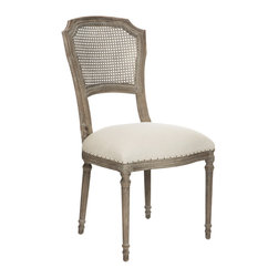 Kathy Kuo Home - Pair Camilla French Country Washed Taupe Linen Dining Chair - In the language of classic French country decor, the cane back upholstered chair is one of the most eloquent and popular ways to achieve that essential balance between formal and relaxed style.  Upholstered in a light gray linen and gently distressed, this pair are two of our most comfortable dining chairs and make a lovely couple whether placed at a table or as additional seating in the living room.
