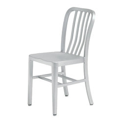 Nuevo Living - Soho Aluminum Dining Chair - Indoor or Outdoor by Nuevo - HGGA161 - Functional and stylish, the Soho Chair was inspired by the designs that were created for the US Navy in the 1940's. The chair features box aluminum frame construction, strongly welded joints and brushed finish. Its back is curved for more comfortable seating and this piece is totally resistant to outdoors and designed to accommodate long hours of use without physical strain.. The Soho is truly a multi-purpose chair, suitable for indoor & outdoor and for use in a multitude of environments. Add an authentic vintage look to your dining space or create a retro-modern seating area with this elegant piece.