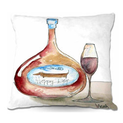 DiaNoche Designs - Pillow Woven Poplin - Happy Dog Wine - Toss this decorative pillow on any bed, sofa or chair, and add personality to your chic and stylish decor. Lay your head against your new art and relax! Made of woven Poly-Poplin.  Includes a cushy supportive pillow insert, zipped inside. Dye Sublimation printing adheres the ink to the material for long life and durability. Double Sided Print, Machine Washable, Product may vary slightly from image.