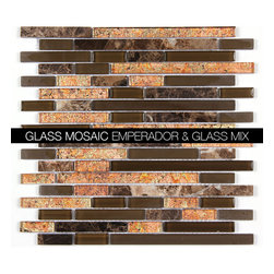 All Marble Mosaic Glass and Stone blend Random Strip 12 x 12 Mosaic Tile Mag-443 - Glass and Stone Blend Mosaic Tiles and Backsplash from All Marble Tiles |