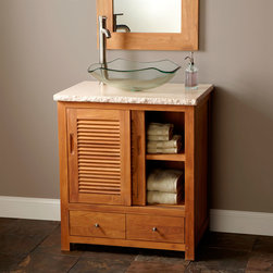 "30"" Arrey Teak Vessel Sink Vanity - Sliding louvered doors and the warm look of teak give the 30"" Arrey Teak Vessel Sink Vanity a casual, yet sophisticated appearance."