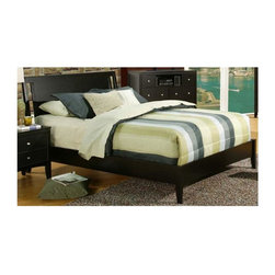 Alpine Furniture - Vista Low Footboard Sleigh Bed (Full) - Choose Bed: FullRequires box spring. Six months warranty. Made from solids and veneer. Dark espresso finish. Made in Indonesia. Full: 81 in. L x 56.5 in. W x 44.25 in. H. Queen: 86.5 in. L x 63.25 in. W x 44.25 in. H. Eastern King: 88.5 in. L x 79.5 in. W x 44.25 in. H. California King: 91.75 in. L x 75.75 in. W x 44.25 in. H