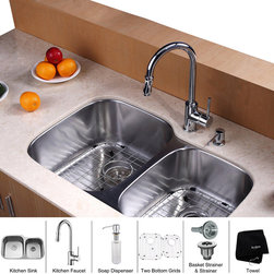 Kraus - Kraus 32 inch Undermount Double Bowl Stainless Steel Kitchen Sink with Chrome Ki - *Add an elegant touch to your kitchen with unique Kraus kitchen combo
